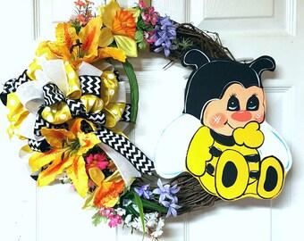 Bee Grapevine Wreath, Floral Grapevine Wreath, Summer Grapevine Wreath, Door Decor, Home Decor