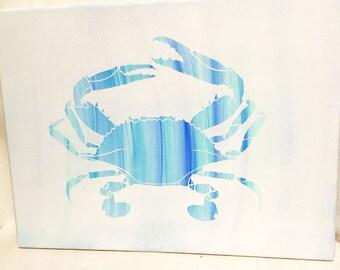 Crab Painting, 12 X 16 Blue Crab Painting, Coastal Painting,