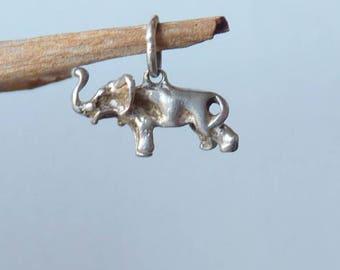 Vintage Sterling Silver Elephant Charm Small Lucky Elephant Silver Charm 925 Elephant, Retro 70's Jewelry,Silver Minimalist Elephant Jewelry