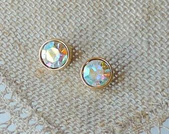 MONET Gold Tone Aurora Borealis Earrings Vintage Round Small Stud Earrings Elegant Gold  Pierced, Vintage Earrings 70's Retro Monet Jewelry