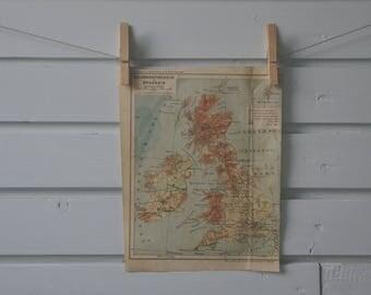 1912 Vintage United Kingdom & Ireland Map