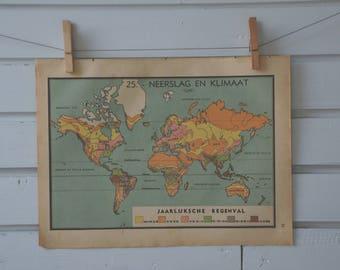 1941 Vintage World Rainfall Map