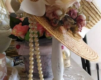 Wearing hat, wearing jewelry, antique white shabby chic