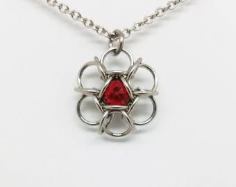 Hexapetalon Chainmaille Scarlet Red Swarovski Stainless Steel Pendant