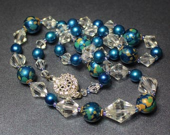Vintage Black Rhino Design Necklace Vintage Teal Blue Marble Look & Cone Shape Crystal Beads w Miniature Blue Spacers SS Rhinestone Clasp