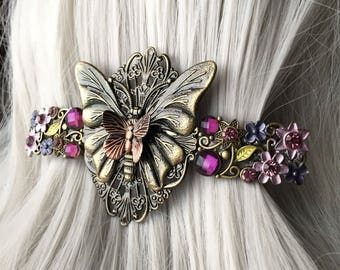 Gift-For-Her Summer Wedding Purple Jeweled Thick Hair Clip - Christmas Gift for Her Hair Clips  - Hair Clip - Butterfly Accessories fo Women