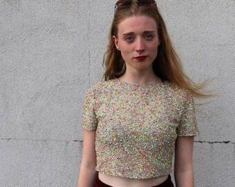 Pastel Sequin Crop Top