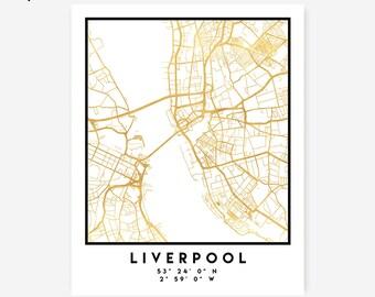 Liverpool Map Coordinates Print - United Kingdom City Street Map Art Poster, Gold Liverpool Map Print, Liverpool England Coordinates Poster