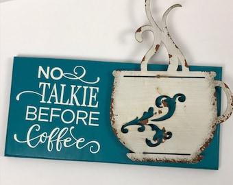 Coffee sign, coffee sign with metal cup, Coffee shop sign, coffee wall decor, coffee decor, multimedia coffee sign, rustic wall decor