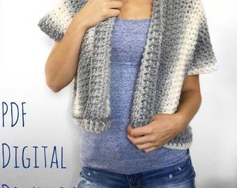 The Lazy Day Cardigan PDF DIGITAL DOWNLOAD Crochet Pattern, Women's crochet cardigan pattern, crochet shrug, crochet sweater, easy pattern