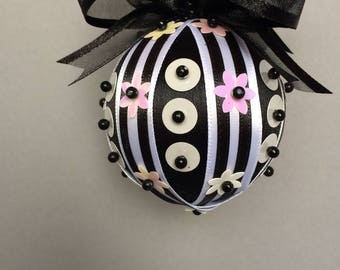 Black & White Collection/BlackChristmas Ornament With White Sequin Accents and Ribbon/Handmade