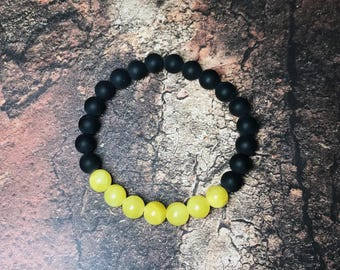 Matte Onyx Bracelet, Lemon Jade Bracelet, Women's Bracelet, Men's Bracelet, 8mm Stone Bracelet, Gemstone Bracelet. Stretch Bracelet.
