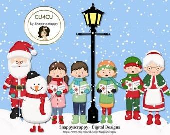 Christmas, Carol Singers Clipart,  Digital Scrapbooking, Christmas Characters, CU4CU