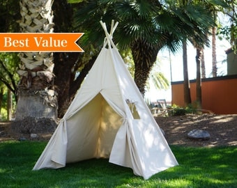 Plain teepee with poles, kids Teepee, tipi, Play tent, wigwam or playhouse with canvas and Overlapping front doors