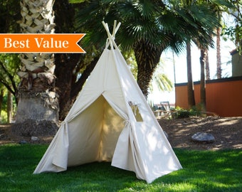 Plain teepee with whole piece solid wood poles, kids Teepee, tipi, Play tent, wigwam or playhouse with canvas and Overlapping front doors