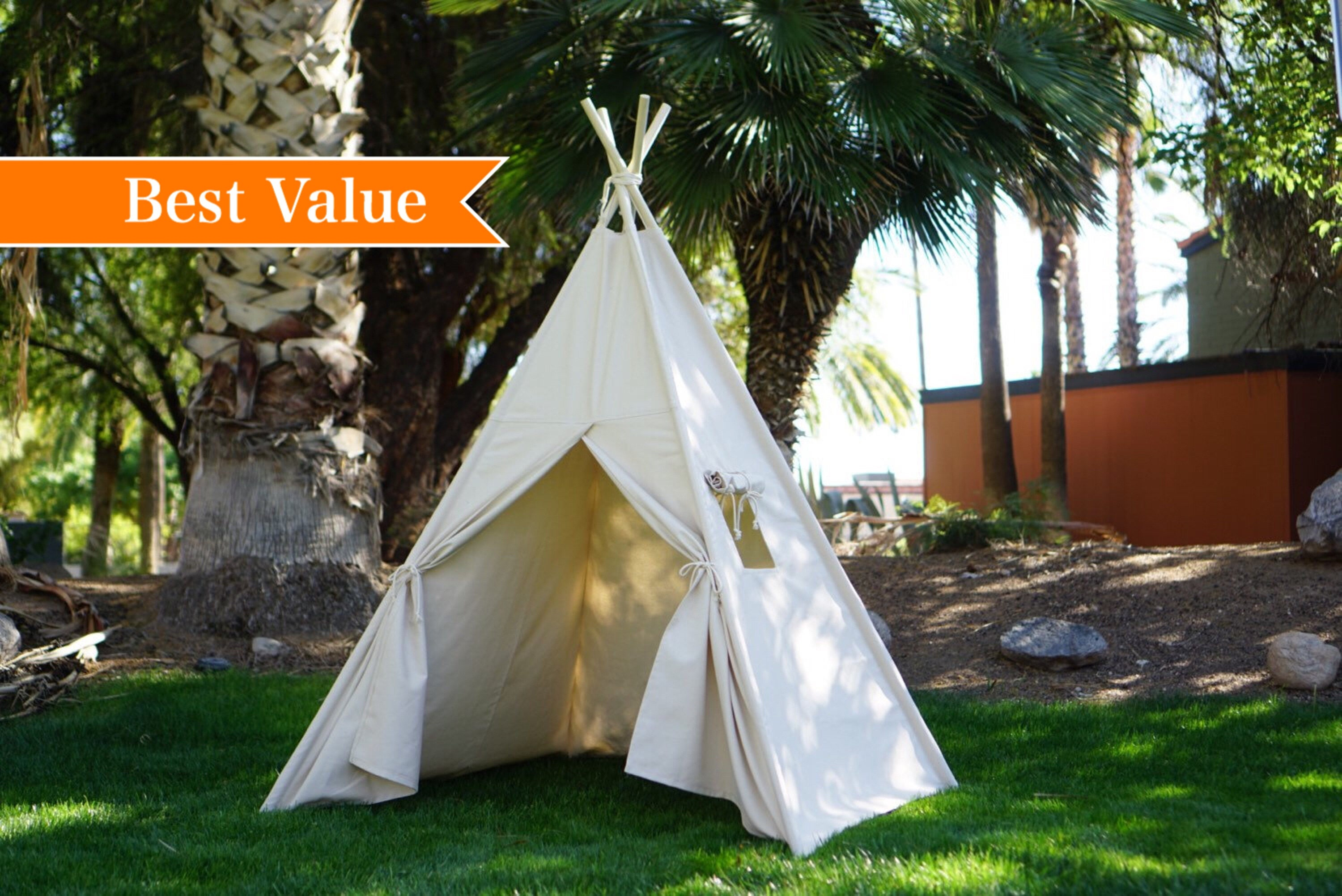 Plain teepee with whole piece solid wood poles kids Teepee tipi Play tent wigwam or playhouse with canvas and Overlapping front doors & Plain teepee with whole piece solid wood poles kids Teepee tipi ...