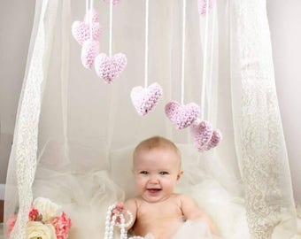 Lovely Dreams Baby Mobile, Crib Mobile, Nursery Mobile, Hanging Mobile, Modern Nursery, Hearts Baby Mobile, Nursery Mobile with Hearts