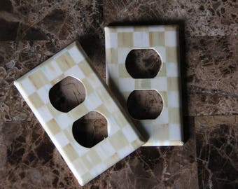 Double Socket Single Wall Switch Plate Outlet Cover made with Mackenzie-Childs Courtly Check Parchment Paper