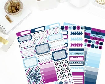 Winter Blues Weekly Kit Stickers! Perfect for your Erin Condren Life Planner, calendar, Paper Plum, Filofax!