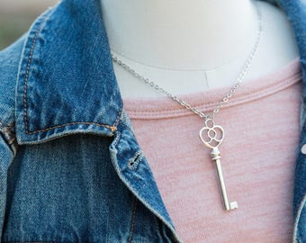 Scroll Heart Key Necklace, Silver Key, Key Necklace, Bohemian Key Necklace, Key Jewelry, Boho Chic, Layering Chain, Heart Key, Heart Jewelry