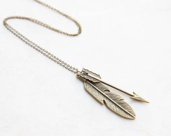 Antique Brass Feather and Arrow Necklace, Feather Necklace, Boho Necklace, Bow and Arrow, Feather Pendant, Pendant Feather, Archery