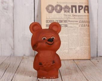 Misha bear, Moscow 1980 Olympics, Rubber bear, 80's Olympics mascot, Soviet Olympics 80s, Olympics USSR, Soviet Olympic bear