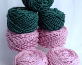 Flower Making Yarn, Pink Rose & Leaf Green Chunky Yarn Bundle Quick Knitting Yarn Cakes Bundle