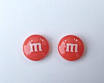 Orange M&M Stud Earrings