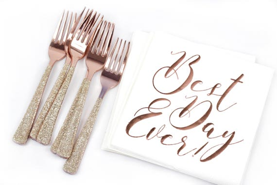 10pc Foiled Rose Gold Script Best Day Ever Luncheon Napkin, Neutral Rustic Rose Gold Wedding Napkin, Rose Gold Bridal Shower Napkin Wedding