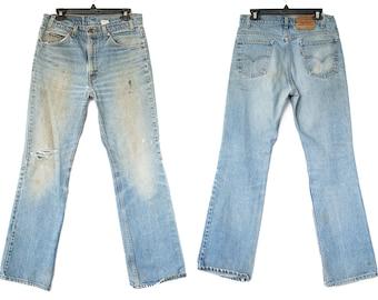 Size 33 517 Vintage Levis, Levis 517, Vintage 517 Levi Jeans, Distressed Vintage Jeans, 517 Levis, Size 33 Levis, 33x32 Levis, Levi 517