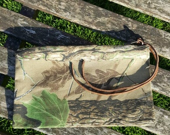 Realtree authentic camouflage canvas fabric purse pouch passport phone YKK brass zip leather tassels