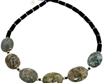 Volcanic, Earth, black & white color gem bib necklace; Fossil jasper, onyx, opal; Large stone bead statement necklace;