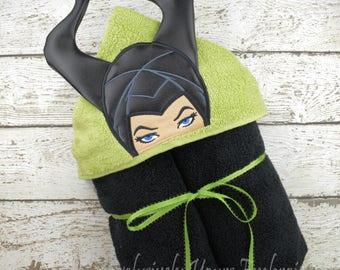 Evil Fairy Queen Maleficent Kids Hooded Towel, Sleeping Beauty, Baby Towel, Childrens Hood Towel, Bath, Beach, Pool Towel, Character Towel