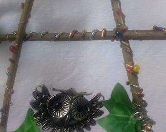 Moon Owl Element Hanging Wall Bead Pentacle Pentagram