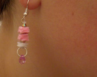 Pink and white felt with a pink pearl earrings