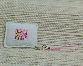 Wearable jewelry rectangular white felt to the two friends with heart