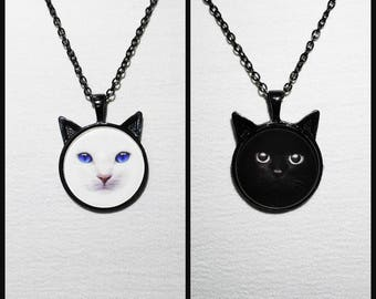 White or black cat necklace cammeo black base pendant photo cammeo blue eyes cute cat 25mm glass cabochon