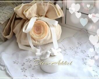 Gorgeous purse damask ecru and beige chiffon flower
