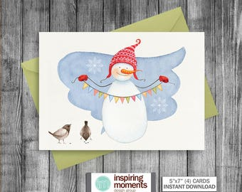 Christmas Card | Greeting Card | Winter | Blank Note Card | Snowman | Snowflakes | Birds | Watercolor | Printable | Instant Download