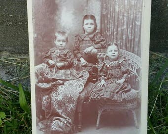 Victorian cabinet card siblings matching outfits dresses