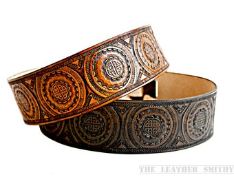 """Celtic Knot Adjustable Leather Guitar Strap - 2.5"""" wide,  For Acoustic or Electric Guitars"""