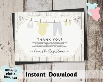 Printable Rustic Baby Shower Thank You Card Template - Gender Neutral, Boy, Girl - Instant Download Digital File PDF - yellow, pink, blue