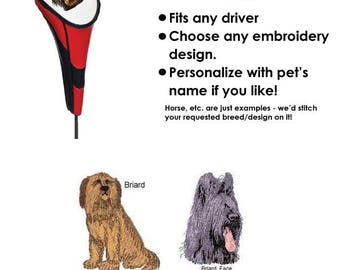 Briard Vinyl Golf Head Cover - Personalized - Embroidered
