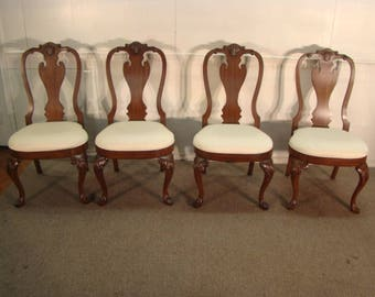 ethan allen solid mahogany set of 4 dining chairs