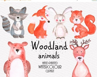 SALE Woodland Animals Clipart, Watercolor Clipart, Animals Clipart, Watercolor Animals  Clip Art, Commercial Use, Hand Painted Clipart
