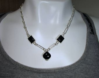 C-125 necklace Silver 925 and three onyx black free shipping
