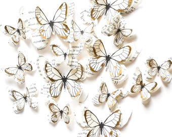 White and gold butterflies, gold wedding decor, gold accent decor, gold wall art, luxury decor, gold wall decals