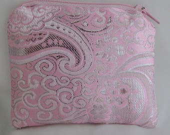 Small Pink and Silver Brocade and Satin Coinpurse Coin Purse Pendulum Crystals Zipper Bag Pouch Fancy