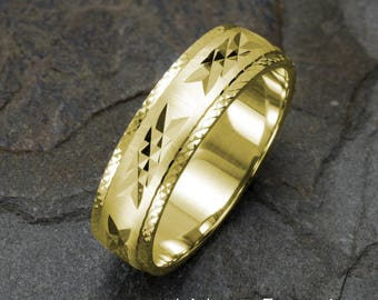 Mens Wedding Ring, Yellow Gold Wedding Band, Wedding Ring, Solid Gold Rings, Gold Ring, Wedding Ring Mens, 14k Yellow Gold Ring, Unique Band
