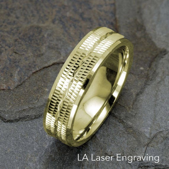 Wedding Band 14K Gold Ring Grooved Infinity Polished